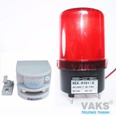 Bộ chống trộm cảm biến hồng ngoại HT1A + Đèn quay tín hiệu không còi BEKR-R101 (màu đỏ)