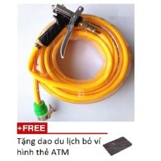 Hình ảnh Bộ dây và vòi xịt tăng áp lực nước 300% rửa xe tưới cây loạI 15m T400I tặng dao gập thẻ ATM
