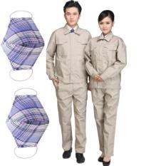 Bộ 2 đôi quần áo lao động màu ghi size 5 và size 6 tặng kèm 02 khẩu trang lao động