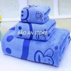 Bộ Khăn mặt - khăn lau - khăn tắm Bảo An Store - màu ngẫu nhiên (PHÂN MÀU)