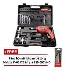 Bộ máy khoan búa BLACK & DECKER HD560K-B1 (Cam) + Tặng bộ mũi khoan bê tông Makita D05175