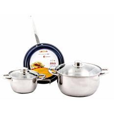 Hình ảnh Bộ nồi chảo inox dùng được cho bếp từ Goldsun GE21-3305SG