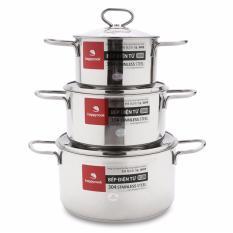 Giá Bán Bộ Nồi Delux Nắp Kinh Happy Cook Hc06Dlg Gồm 3 Chiếc Nồi Kem Nắp Mới Rẻ