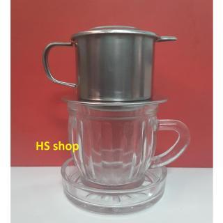 Bộ Phin pha cà phê inox (F6) và Ly thủy tinh 175ml kèm đế -NPP HS shop thumbnail