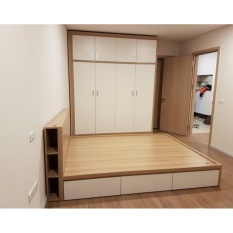 Bộ phòng ngủ hiện đại Mộc Ái MA 0171-3 ( trắng phối vàng kem)