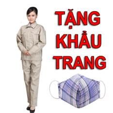 Hình ảnh Bộ quần áo bảo hộ lao động màu ghi - Size 5 - Tặng khẩu trang