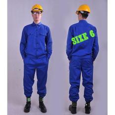 Bộ quần áo lao động màu xanh size 6 - quần áo bảo hộ