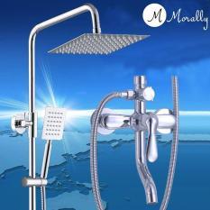Hình ảnh Bộ sen cây tắm đứng NÓNG LẠNH tay sen vuông Morally - MR-SV09 ( Trắng bạc)