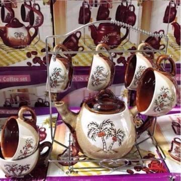 Bộ tách uống trà bằng gốm sứ (6 tách, 1 ấm) kèm giá treo inox