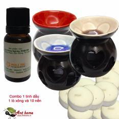 Bộ Tinh dầu oải hương thơm phòng 10ml và lò xông tinh dầu tim 03 + 10 viên nến