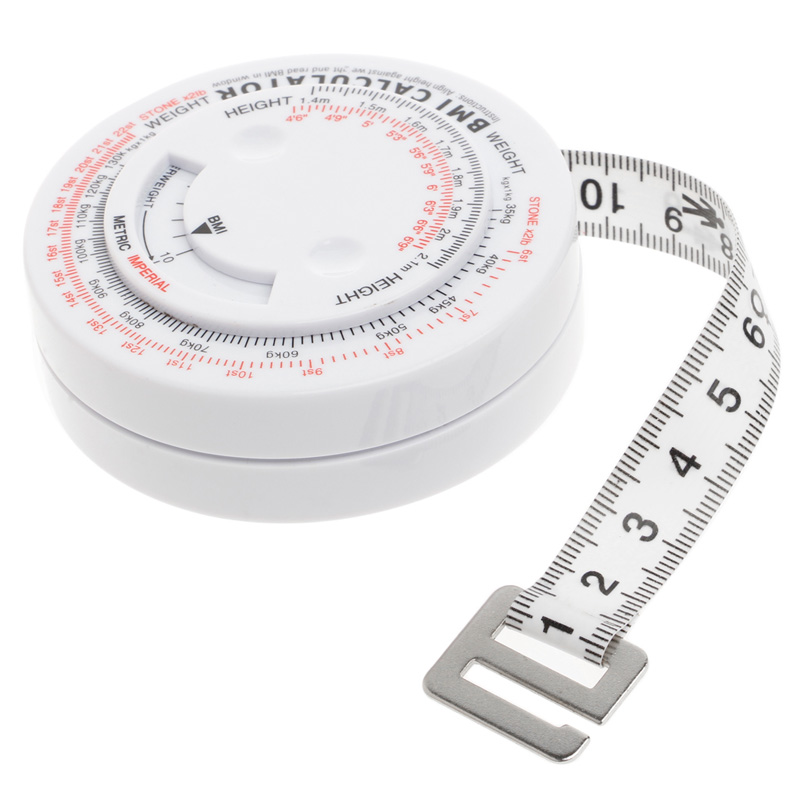Body Mass Index Retractable Tape 150cm Measure Calculator Diet Weight Loss Tape Measures Tools,White - intl