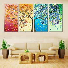BolehDeals 4 Panels No Frame Season Trees Canvas Print Wall Art Painting Picture Home Hall Decor - intl