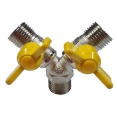 Hình ảnh BolehDeals Brass 2 Way Gas Pipe Hose Connector Y Piece Joiner Adapter Controller Walve - intl