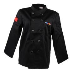 Hình ảnh BolehDeals Unisex Modern stylish Long Sleeve Chef Jacket Coat Cook Uniform XXL black - intl