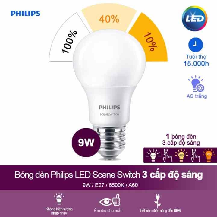 Bóng Đèn Philips Led Scene Switch 3 Cấp Độ Chiếu Sáng 9w 6500k Đuôi E27 - Ánh Sáng Trắng(Trắng)