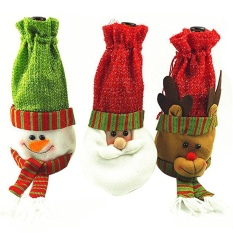 Hình ảnh Boobc Chai Rượu Có Giáng Sinh Rượu Tặng Giá Đỡ Ông Già Noel Giáng Sinh Trang Trí Bộ 3, 11.8x5.9 inch-quốc tế