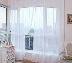 Hình ảnh BUYINCOINS Sáng Màu Kẹo Hoa Voan Rèm Nhà Đẹp Trang Trí Cửa Sổ Bảng Sheer Diềm Khăn-quốc tế