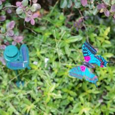 Cánh bướm xoay trang trí sân vườn năng lượng mặt trời (màu xanh)