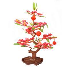 Chậu hoa đào giả kèm chim (Hồng) Kmdeal