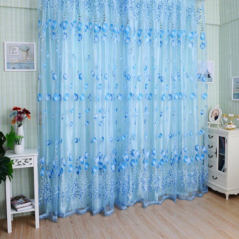 【Crystalawaking】Chic Room Tulip Flower Sheer Curtain Blue (Intl)