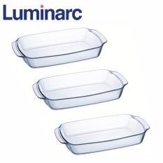 Giá Bán Combo 3 Khay Nướng Thủy Tinh Chữ Nhật Luminarc 35 24Cm J1340 Trong Suốt Luminarc Trực Tuyến