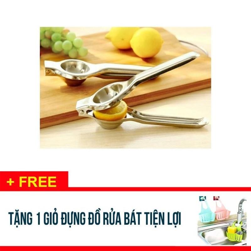 COMBO 5 Dụng cụ vắt chanh ép nước tiện ích bằng inox - Tặng 1 giỏ nhựa đựng đồ rửa chén bát  - GC001