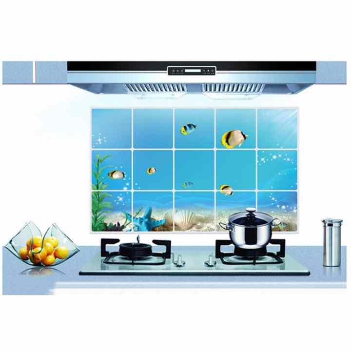 Combo 5 tấm tranh dán nhà bếp chống nhiệt chống dầu mỡ