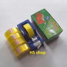 Mua Combo Bàn cắt Băng dính, Băng keo để bàn và 05 Cuộn băng dính trong đường kính 6cm, rộng 1,8cm -NPP HS shop