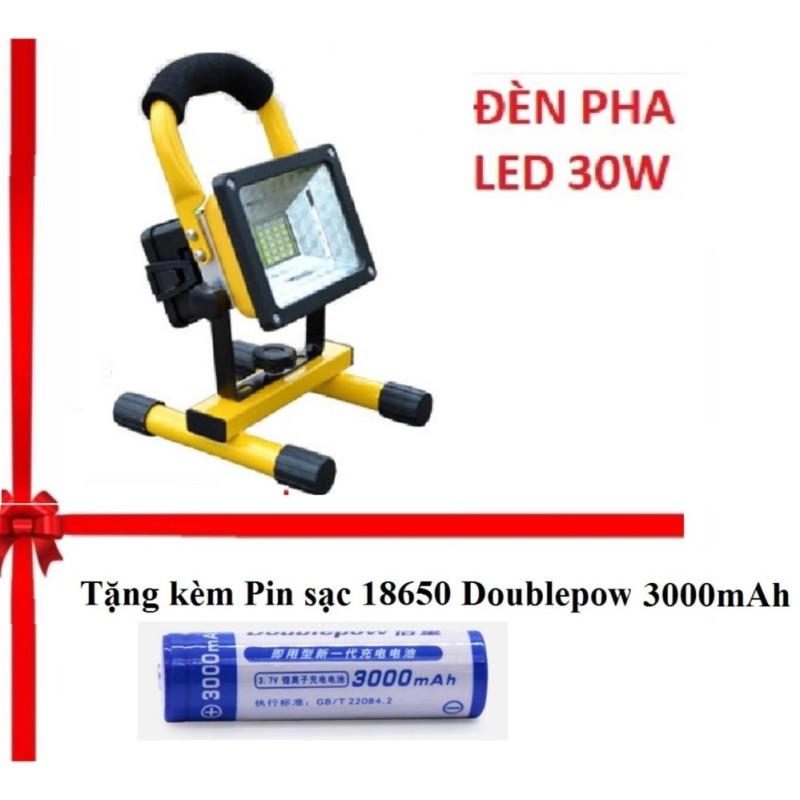 Combo Đèn pha LED đa năng siêu tiết kiệm điện 30W chống nước IP65 TẶNG 1 Pin sạc 18650 3000mAh- (Vàng - đen)