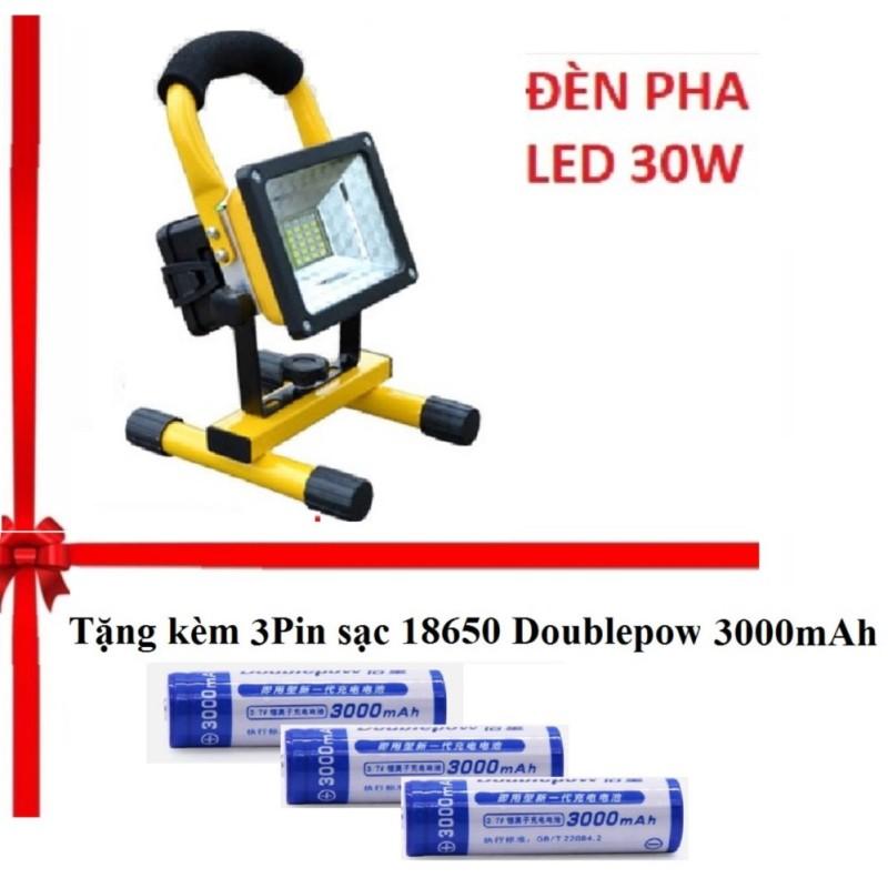 Bảng giá Combo Đèn pha LED đa năng siêu tiết kiệm điện 30W chống nước IP65 TẶNG 3Pin sạc Doublepow 18650 3000mAh- (Vàng - đen)