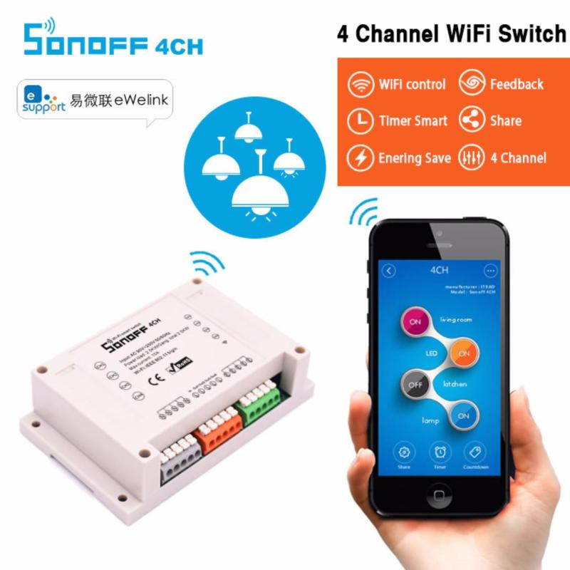 Công tắc wifi 4 kênh thông minh điều khiển từ xa qua điện thoại SONOFF 4CH