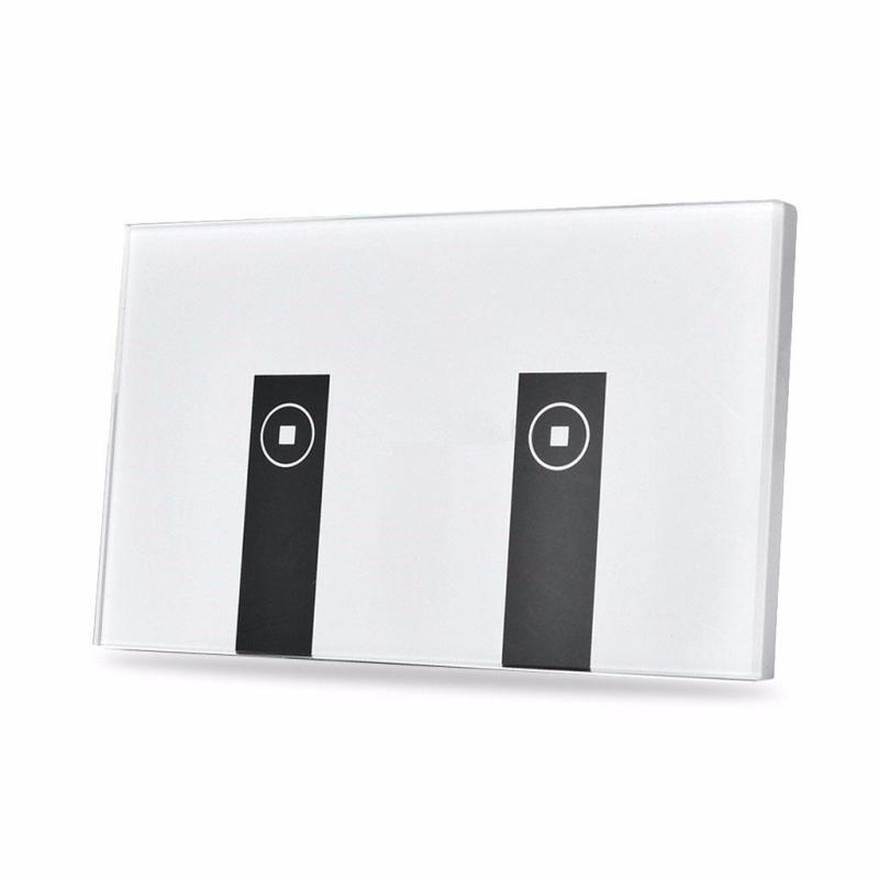 Công tắc wifi kết hợp công tắc màn hình cảm ứng kính cường lực 2 nút (2 Kênh) Chuẩn US Phím Piano