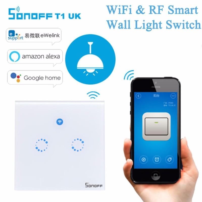 Công tắc wifi cảm ứng âm tường 2 Kênh Sonoff Touch UK 2 gang hỗ trợ điều khiển từ xa RF 433mhz (Hình vuông)