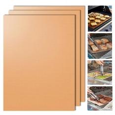 Copper Grill Mat Set of 3 Non-stick BBQ Grill & Baking Mats Golden Grill Mats & Bake Mats Reusable & Easy to Clean - grill mat serve kitchen & Outdoor - intl