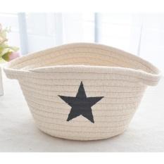Bán Mua Trực Tuyến Cotton Thread Hand Woven Basket Bedside Table Top Snack Sundries Basket Storage Basket Intl