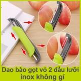 Dao bào gọt vỏ chất liệu inox không gỉ, thiết kế 2 lưỡi ở 2 đầu
