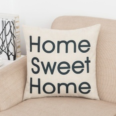 Hình ảnh Decorative Cotton Linen Pillowcase Sweet Home Letters Printed Backseat Cushion Pillow Cover - intl