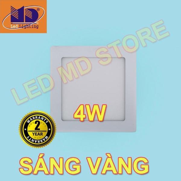 Đèn Led Âm Trần Vuông Siêu Mỏng Thạch Cao 4W Sáng Vàng Φ90 - MD02