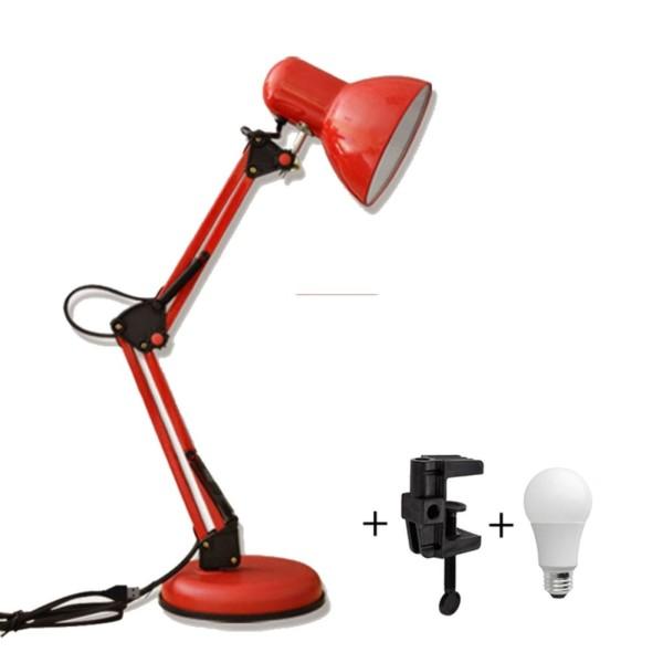 Đèn bàn học tập, làm việc có chân kẹp Pixar MT-322 (màu đỏ) + tặng 1 bóng LED 7w trị giá 50k