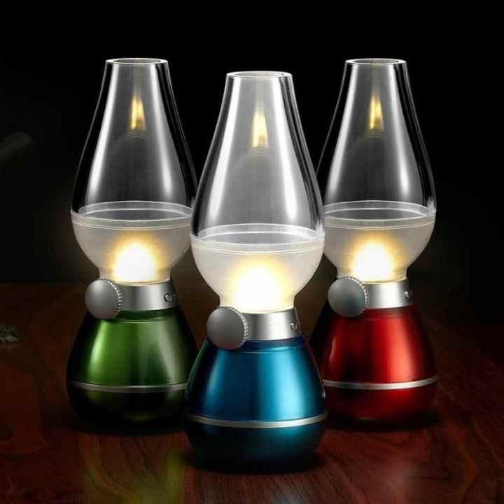 Đèn dầu không khói cảm ứng khi thổi LED (Xanh lá cây)