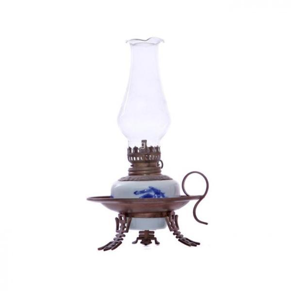 Đèn dầu thờ dáng đèn đĩa men lam cổ 20 cm Bát Tràng