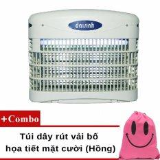Đèn diệt côn trùng, ruồi muỗi DS-D82 (Xám) + Túi dây rút vải bố họa tiết mặt cười (Hồng)