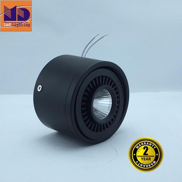 Đèn LED MD ống bơ lắp nổi vỏ Đen ánh sáng vàng 7W