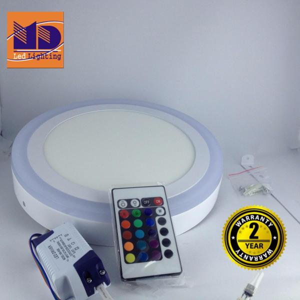 Đèn ốp trần Tròn mâm nổi đổi 4 màu (18w+6-Φ245) - MD33