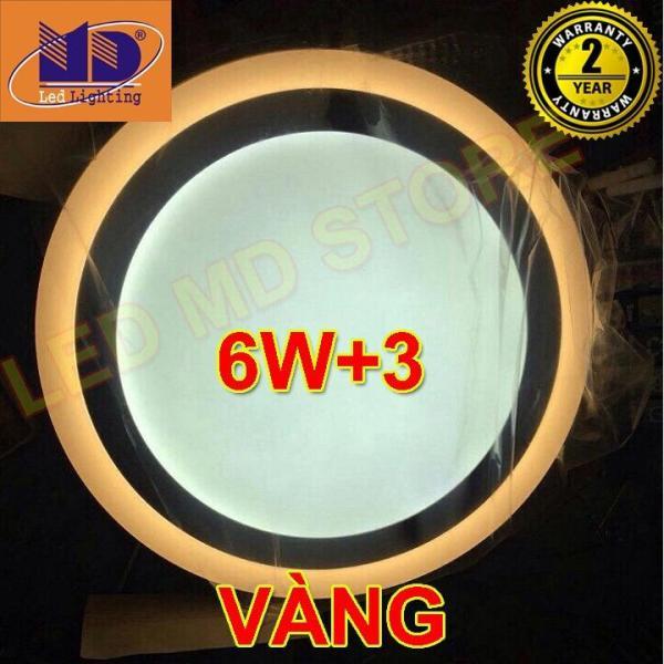 Đèn ốp trần Tròn mâm nổi đổi màu trắng - vàng (6w+3-Φ145) - MD34