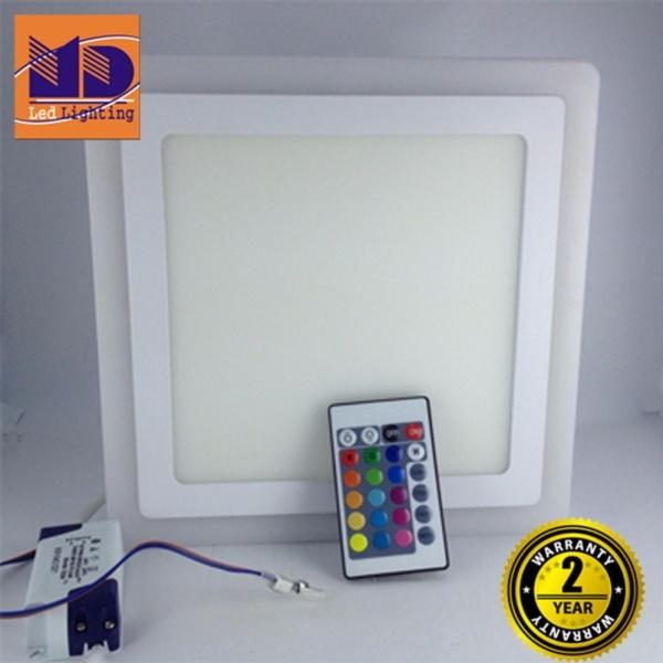 Đèn ốp trần Vuông mâm nổi đổi 4 màu (12w+4-Φ195) - MD33