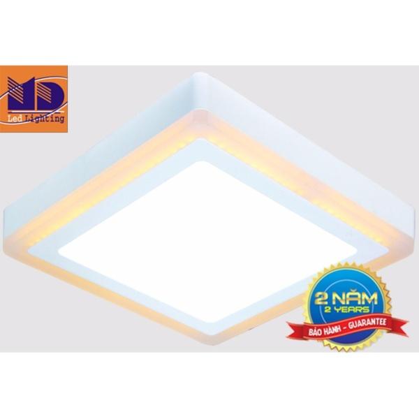 Đèn ốp trần Vuông mâm nổi đổi màu trắng - vàng (6w+3-Φ145) MD34