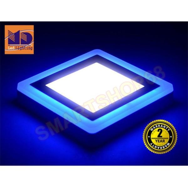 Đèn ốp trần Vuông mâm nổi đổi màu trắng - xanh dương (6w+3-Φ145) MD35