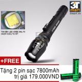 Giá Bán Đen Pin Sieu Sang C Mon Power Tactical Xml T6 Led 10W 2200Lm Chiếu Xa 500M Tặng 2 Pin Sạc Li Ion 18650 Đen Rẻ Nhất