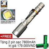 Mã Khuyến Mại Đen Pin Sieu Sang C Mon Power Police Xml T6 Led 10W 2200Lm Chiếu Xa 500M Tặng 2 Pin Sạc Li Ion 18650 7800Mah Bạc